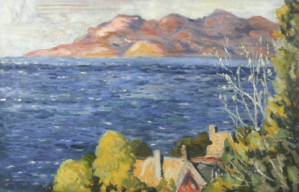 12: A. ALTMANN (RUSSIAN) Lake Cottages Oil Painting