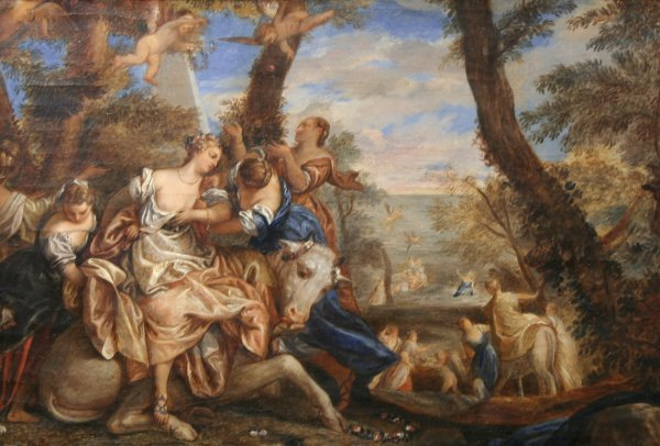 15: 18TH C FRENCH Cherubs & Maidens Oil Painting