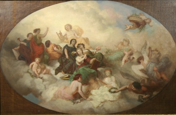 16: C. CHAPLIN (FRENCH) Apollo & Muses Oil Painting