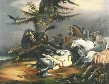 248: VAN ZANDT (AMERICAN) Mazeppa Among Horses Oil