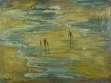338: MONTLACK (AMERICAN) Figures on the Beach Oil