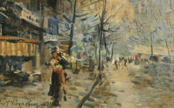 1005: KOROVIN (RUSSIAN) Paris Street Scene Oil