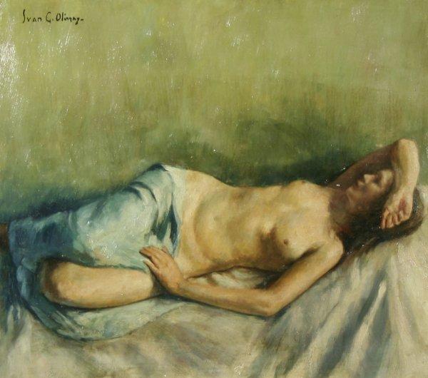 1014: OLINSKY (RUSSIAN-AMERICAN) Reclining Nude Oil