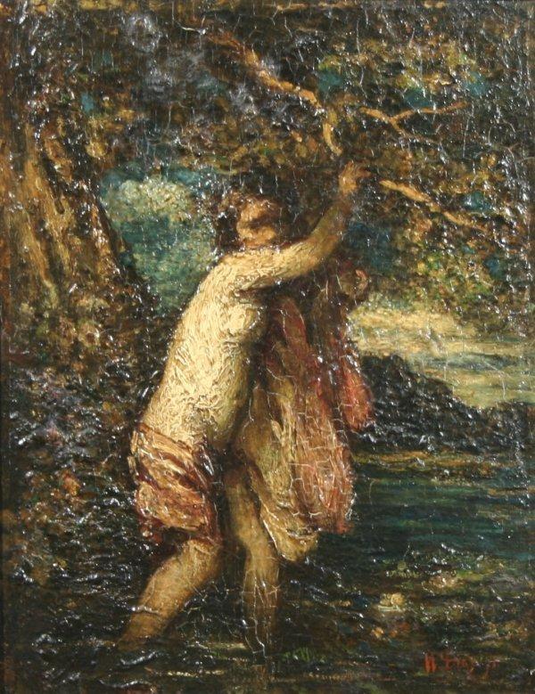 1017: N. V. Diaz de la PENA (FRENCH) Shore Oil Painting
