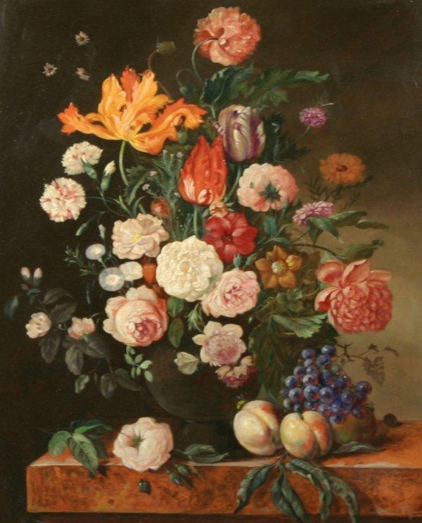 1037: PIELER (AUSTRIAN) Still Life of Flowers Oil