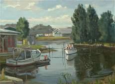 1091: STEPULE (AMERICAN) Fishing Boats Oil