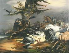 1105: VAN ZANDT (AMERICAN) Mazeppa Among Horses Oil