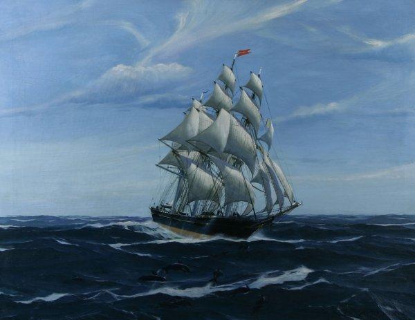 18: WOOD (AMERICAN) Sailing Among Friends Oil