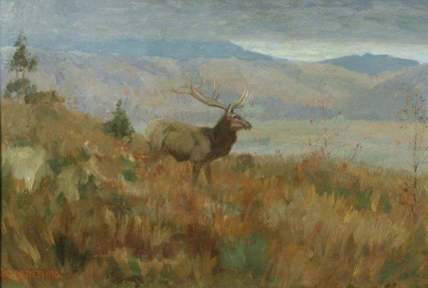 23: DEMING (AMERICAN) Elk in a Landscape Oil