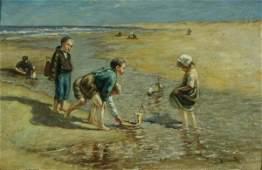 1036: BLOOMERS (ATTRI) (DUTCH 1845-1914) Beach Oil