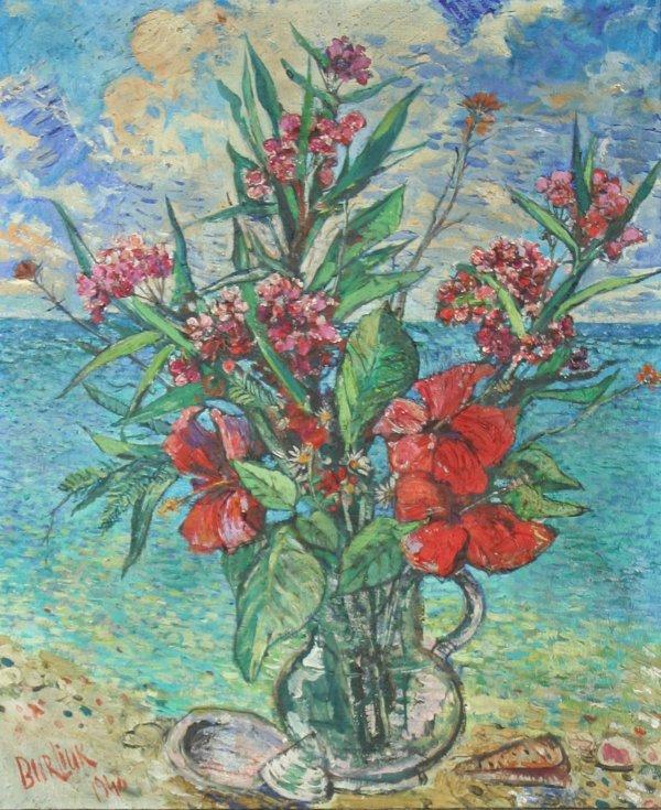 "1: BURLIUK(RUSSIAN 1882-1967) ""Flowers and the"