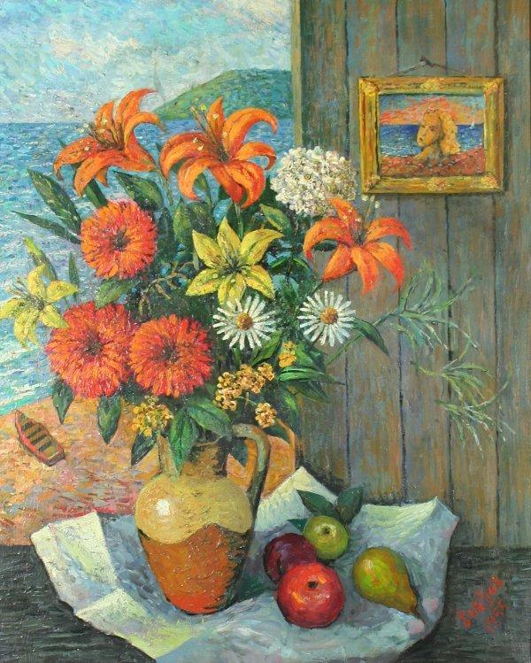 """2: BURLIUK (RUSSIAN 1882-1967) """"Flowers in the"""