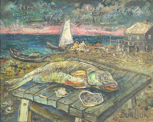 """4: BURLIUK (RUSSIAN  1882-1967) """"Catch of the Da"""