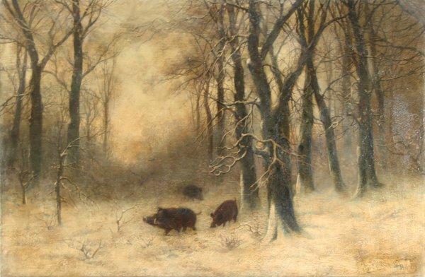 """7: KLEVER (RUSSIAN 1850-1924) """"Wild Boar in Wint"""