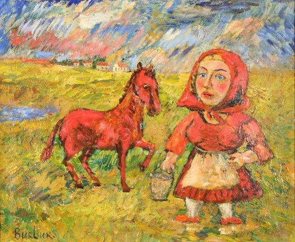 "23: BURLIUK (RUSSIAN 1882-1967) ""Peasant Woman wi"