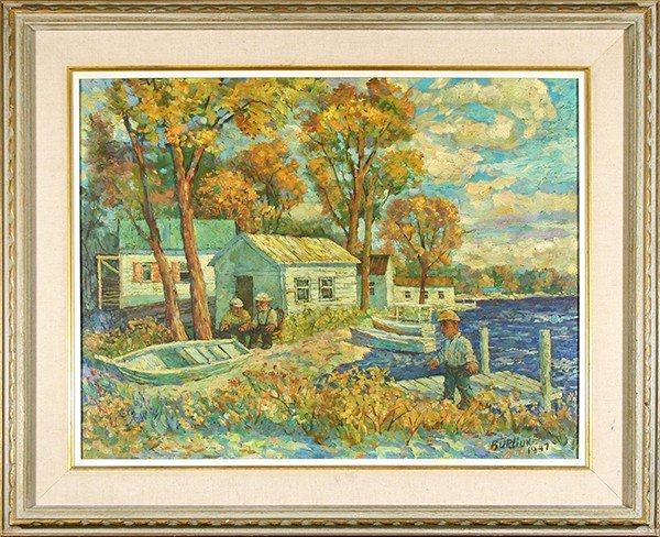 "BURLIUK (RUSSIAN/AMERICAN 1882-1967) ""The Boat Landing"