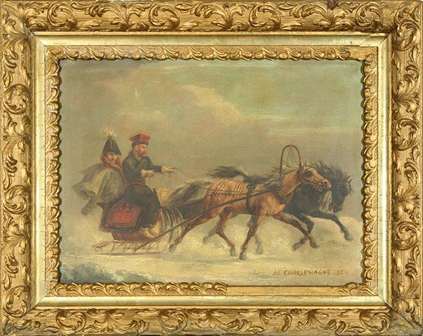 """CHARLEMAGNE (RUSSIAN 1826-1901) """"Winter Traveling"""""""