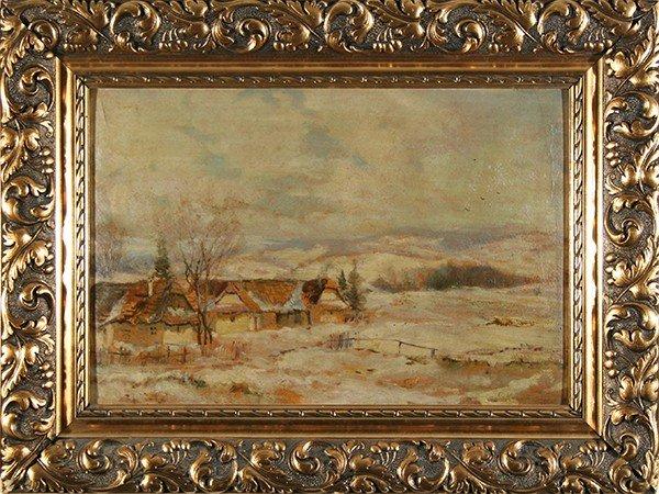 """KOROVINE (RUSSIAN 1861-1939 )""""Winter Village Landsc"""