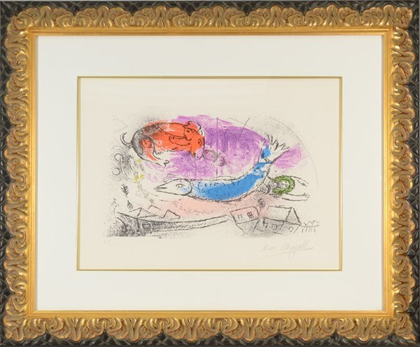 """1: MARC CHAGALL RUSSIAN/FRENCH 1887-1985 """"Blue Fish"""""""