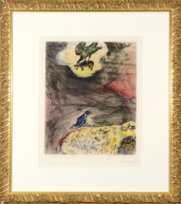 """5: MARC CHAGALL RUSSIAN/FRENCH 1887-1985 """"The Crow Apin"""