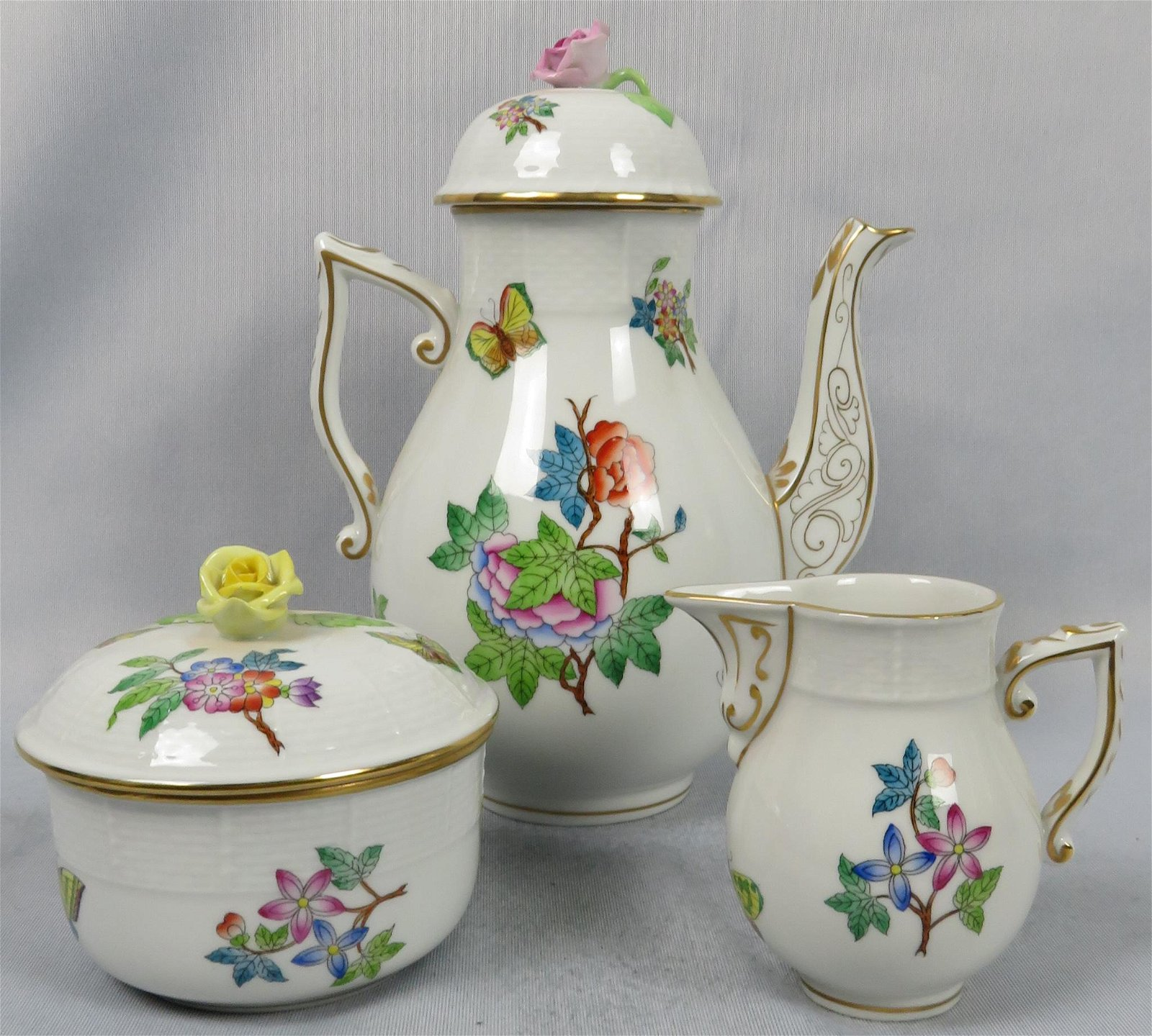 Herend Porcelain Queen Victoria 3 Piece Coffee Service