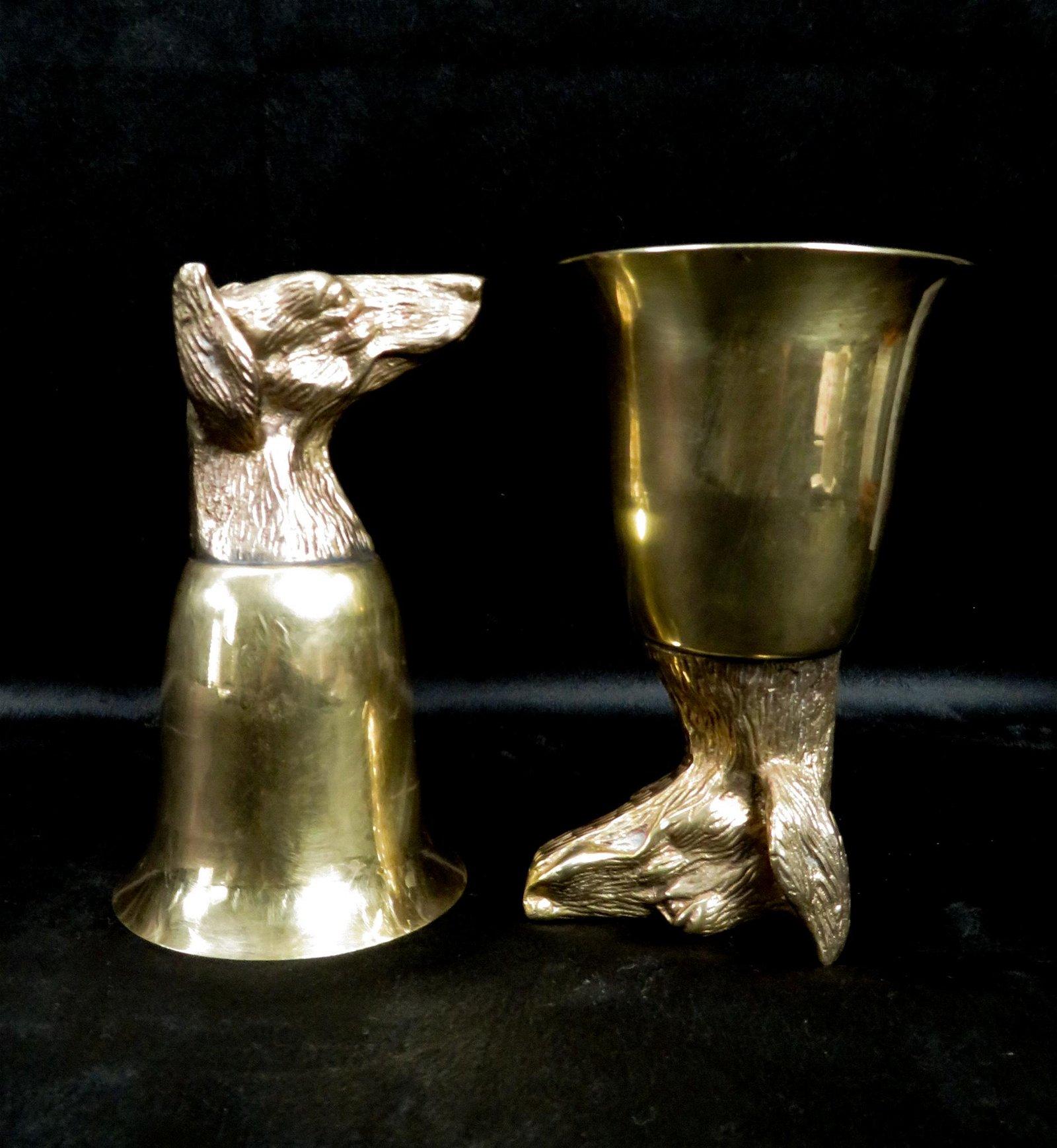 (2) Vintage Italian Hound Dog Stirrup Cups