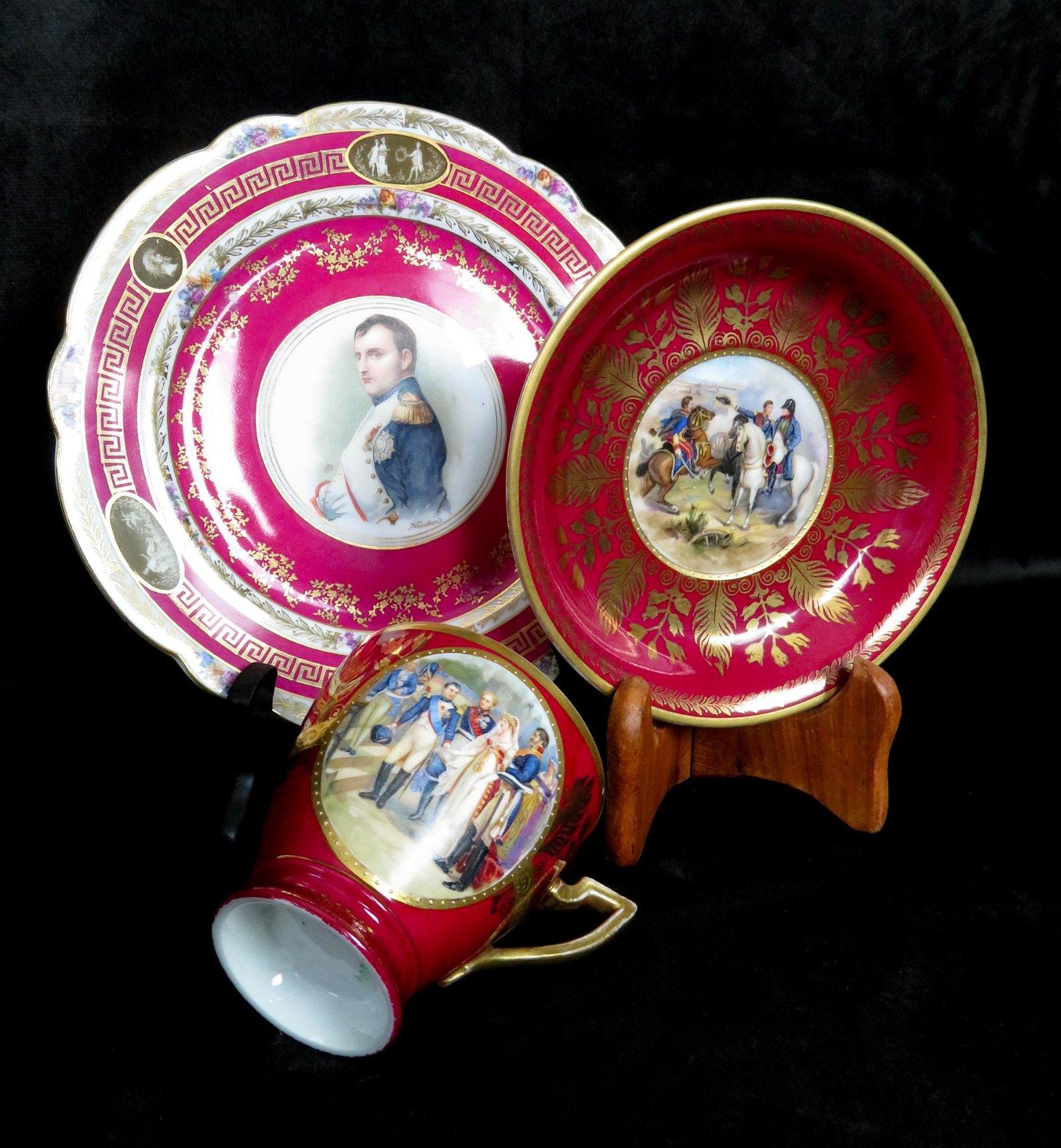 Napoleon French Porcelain Tea Cup Saucer & Plate Sevres