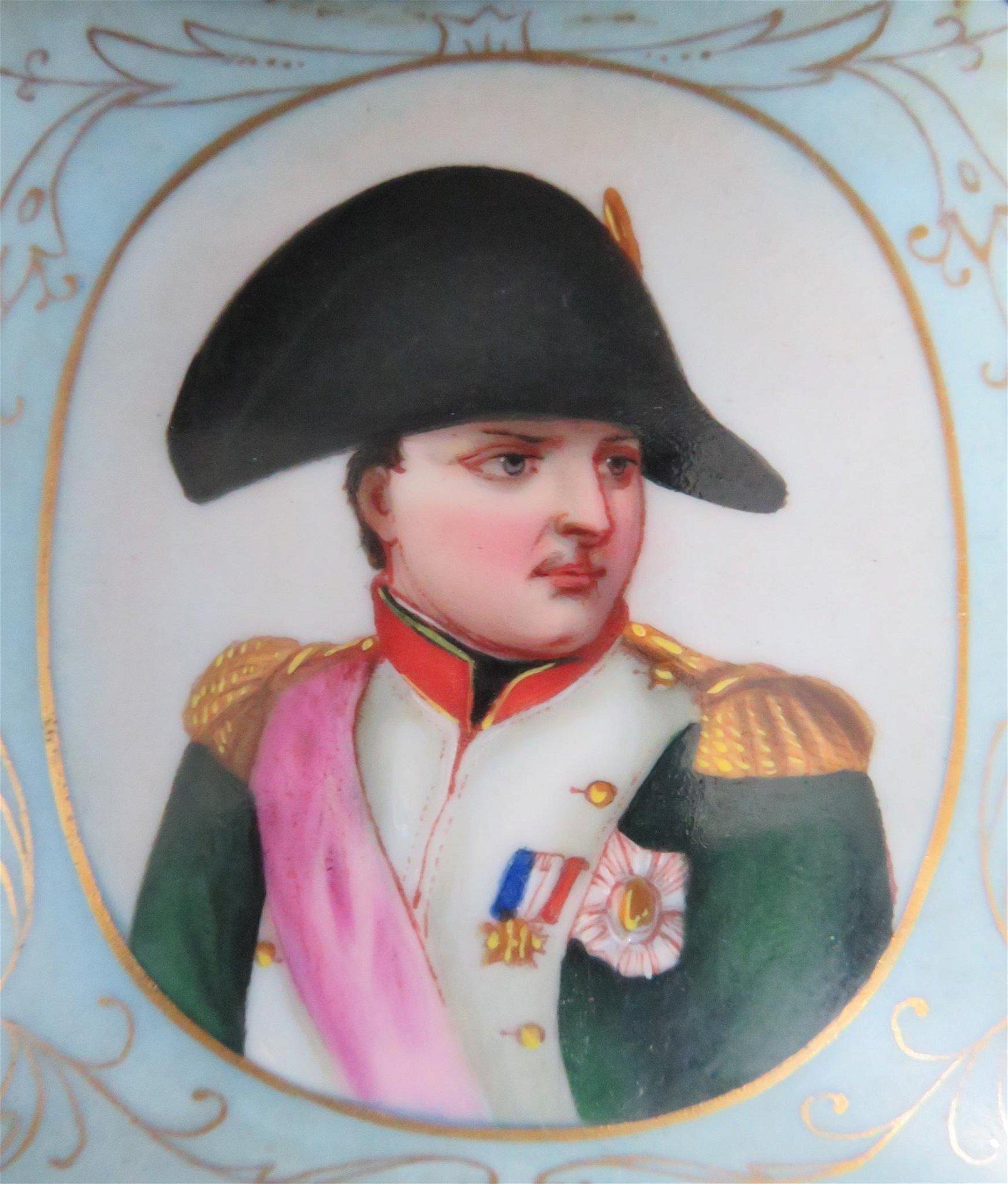 Antique Hand-Painted Porcelain Napoleon I Portrait