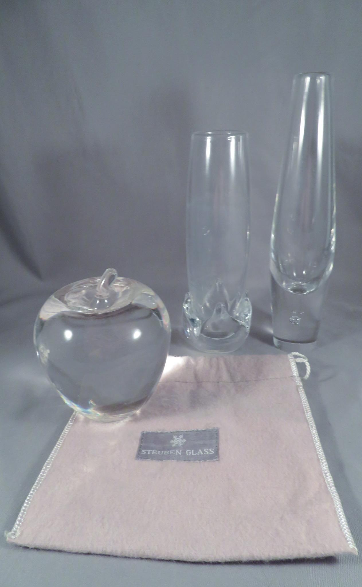 Steuben Glass Teardrop Bud Vase & Apple Paperweight