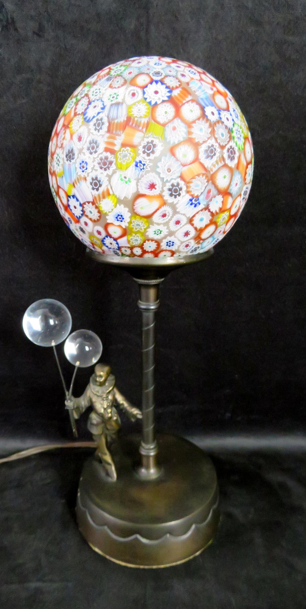 Art Deco Clown Venetian Millefiori Art Glass Shade Lamp