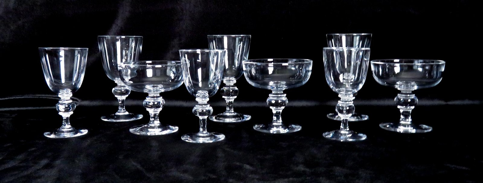 (9) Rare Steuben #7925 White Red Wine Sherbet Glasses