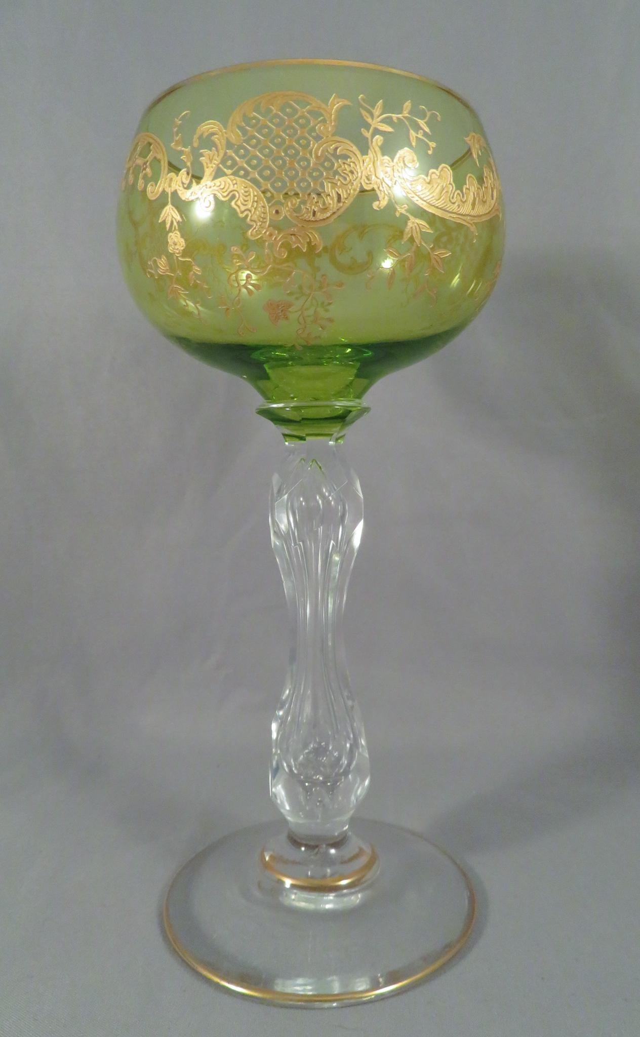 c.1910 French Green Gold Encrusted Wine Hock Glass