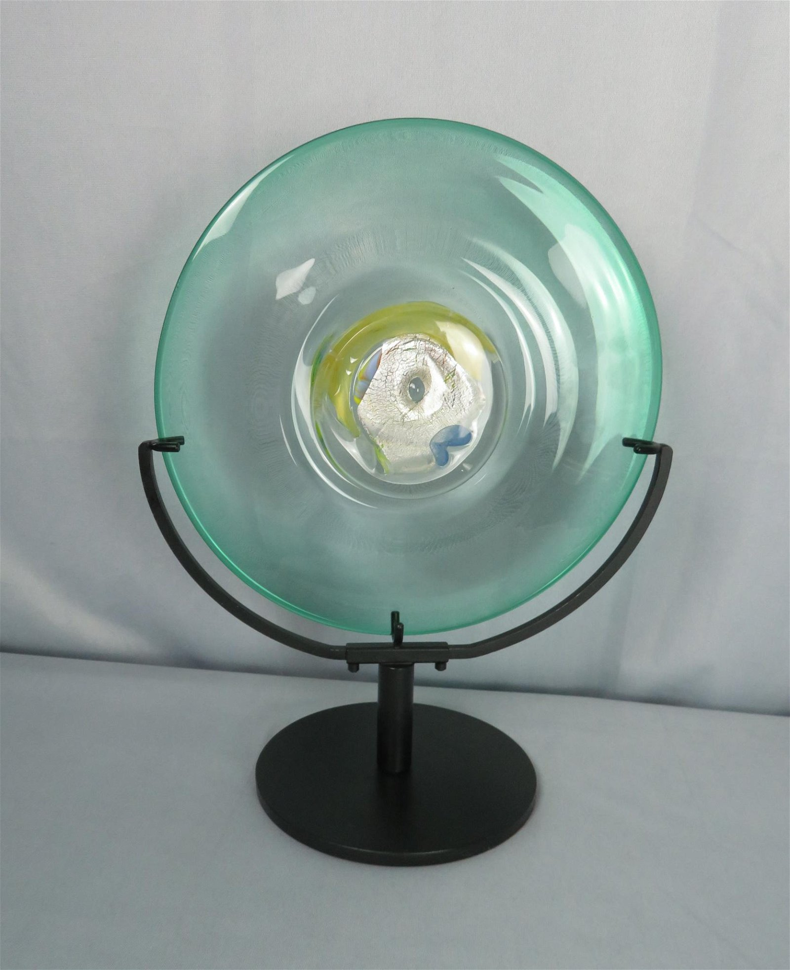 Tagliapietra Murano Art Glass Charger Disc with Stand