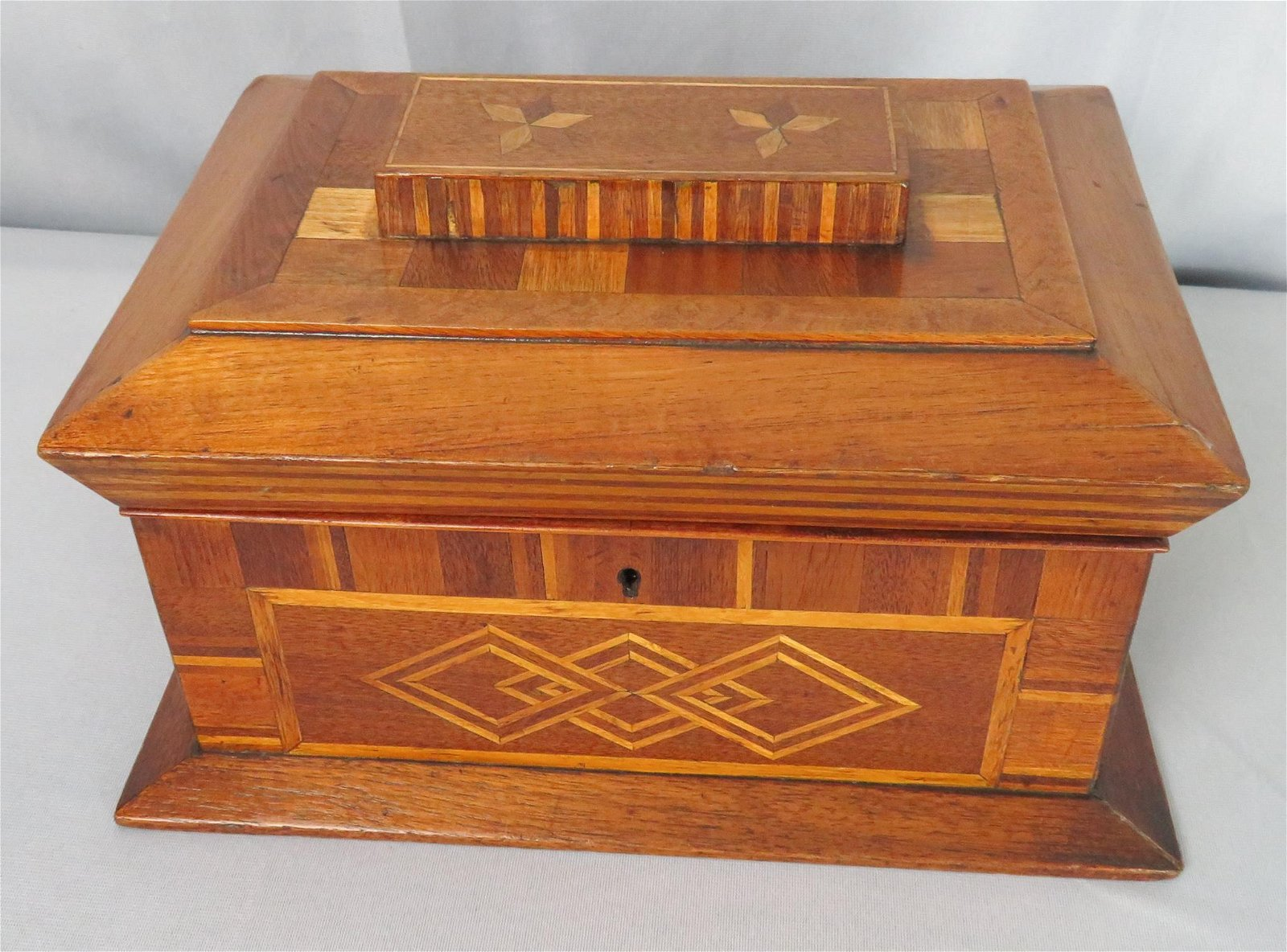 Antique Marquetry Inlaid Compartmentalized Sewing Case