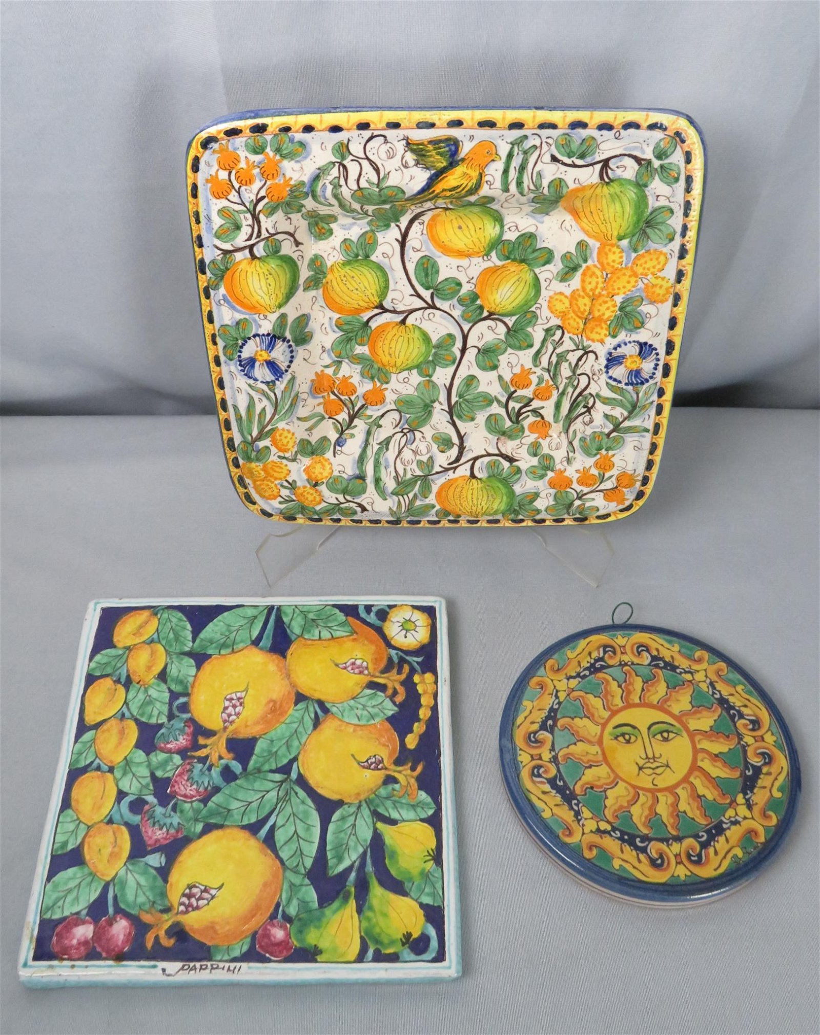 3 San Gimignano Italian Faience Pottery Platters Tiles