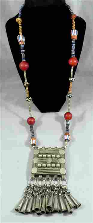 Antique Afghan Central Asian Silver & Bead Necklace