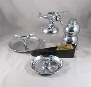 (5) Art Deco Chrome & Bakelite Smoking Accessories
