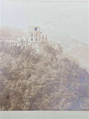 [Heidelberg Castle: photo, pencil sketch and