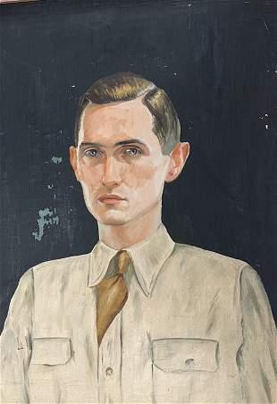 [FOLK ART.] Oil on canvas of Daniel J. Noonan, painted