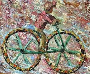 [MODERN ART] Boy on a bicycle, colorful Modern Art Oil