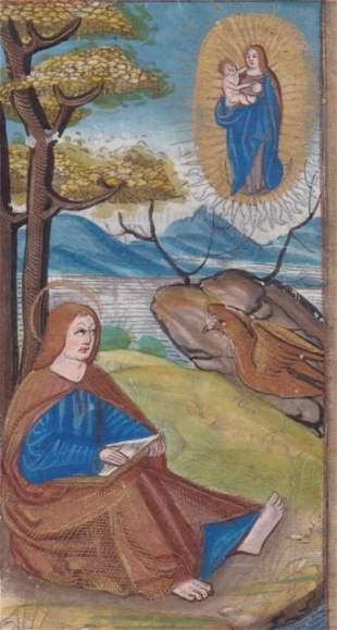 St. John on Patmos, writing his gospel,