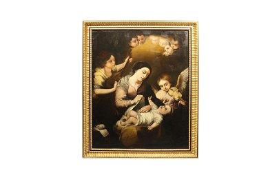 "Escuela sevillana s.XVIII ""La virgen arropando al niño"