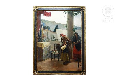 """Isidoro Garnelo Fillol (1867-1939) """"Familia rezando"""""""