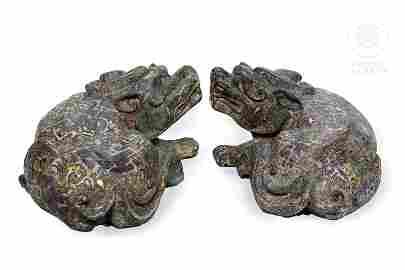 Pareja de perros de bronce, Dinastía Zhou.