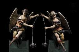 Pareja de ángeles lampareros, ffs.s.XVII