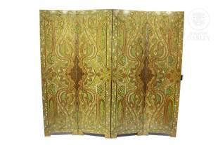 Veneered and painted wood screen, 20th century