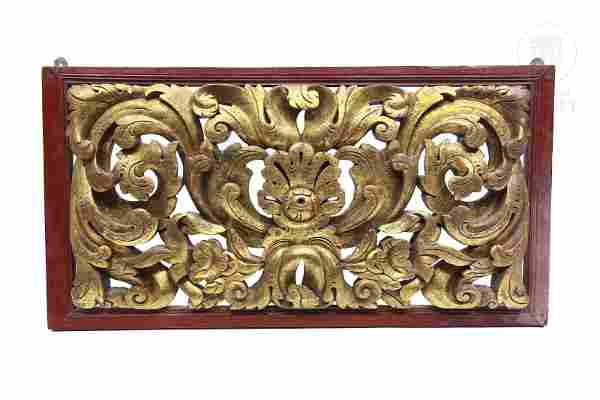 Carved wooden lintel with acanthus scrolls, Bali,