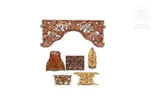 Lot of six decorative carved wooden details, Peranakan,