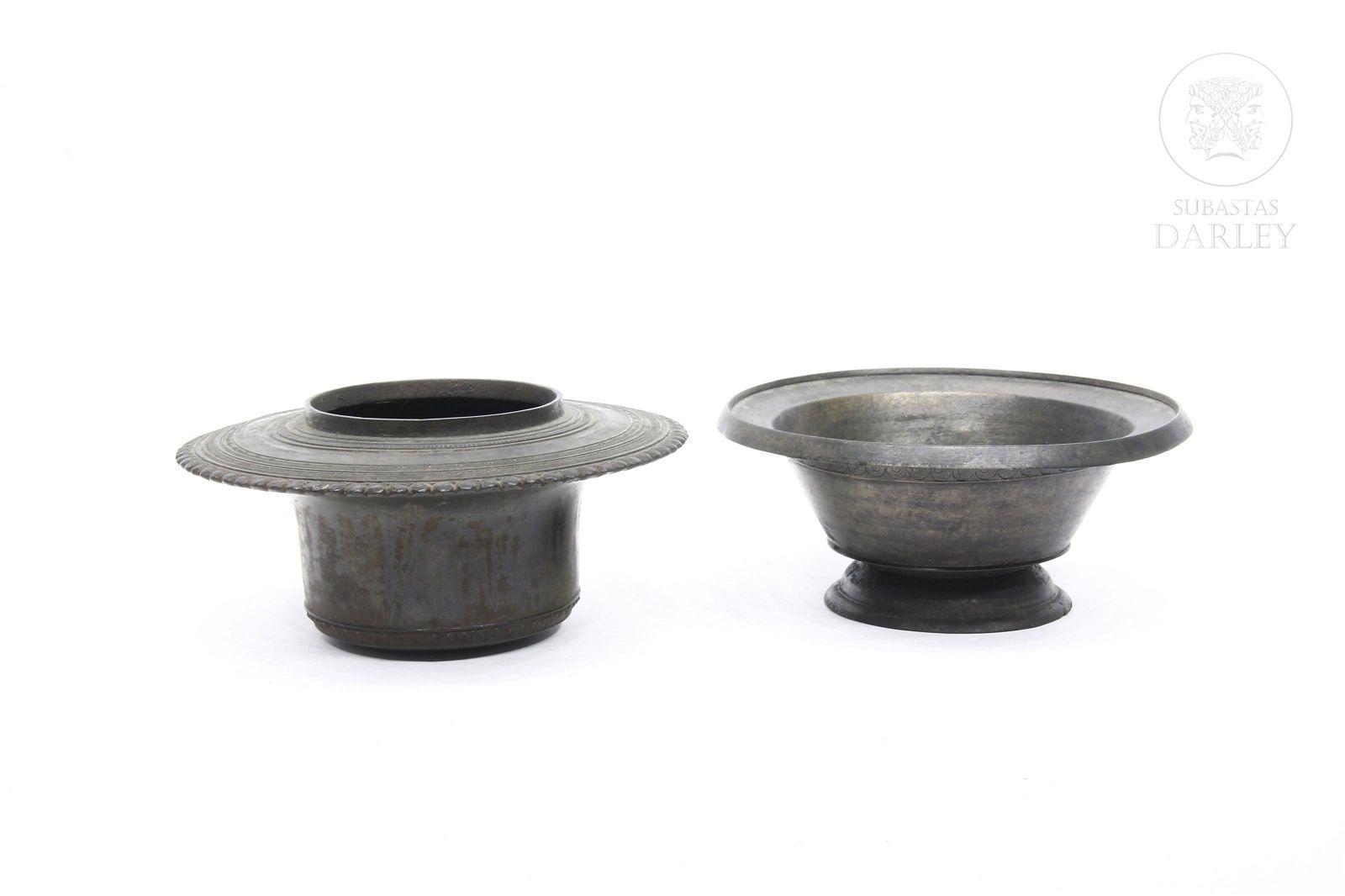 Two flat rim bowls, Indonesia.