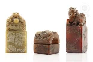Three Chinese hard stone stamps, 20th century